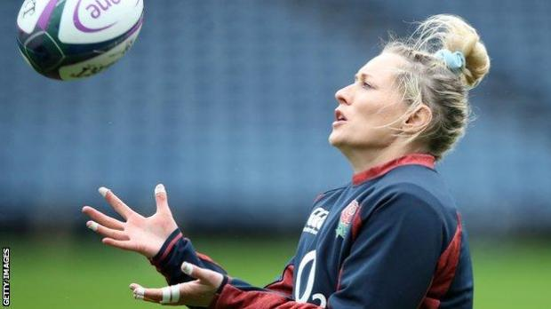 Natasha Hunt in training for England last month