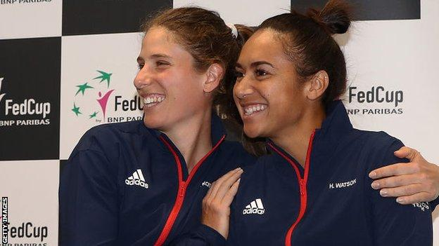 Johanna Konta and Heather Watson playing for Great Britain in the Fed Cup