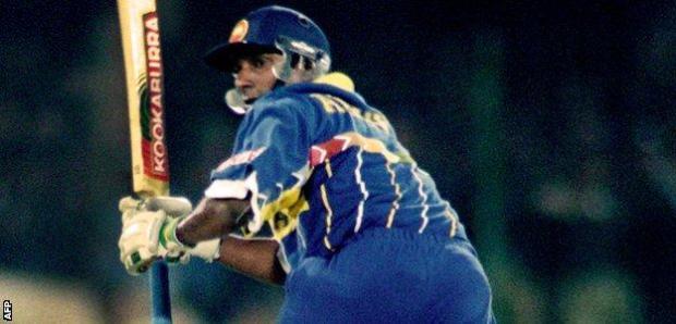 Aravinda de Silva in action in the World Cup final