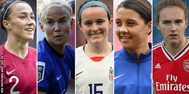 Lucy Bronze, Pernille Harder, Rose Lavelle, Sam Kerr and Vivianne Miedema (left to right)