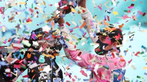 Lewis Hamilton and Sergio Perez on the podium