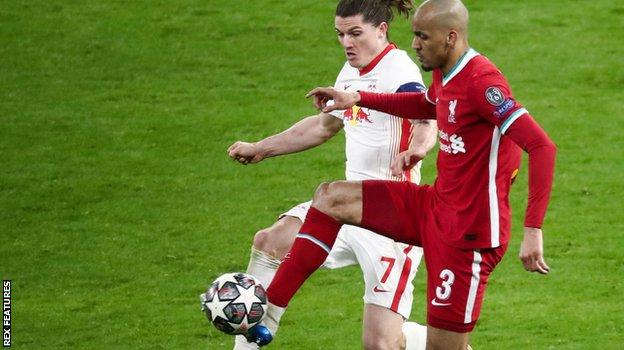 Fabinho challenges RB Leipzig's Marcel Sabitzer