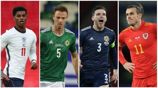 England's Marcus Rashford, Northern Ireland's Jonny Evans, Scotland's Andy Robertson and Wales' Gareth Bale