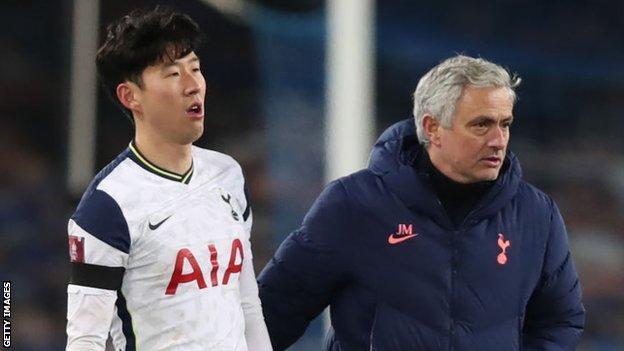 Son Heung-min and Jose Mourinho