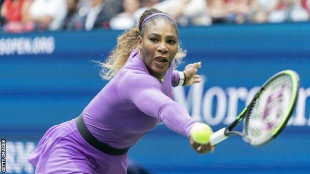 Serena Williams plays a backhand during the 2019 US Open final