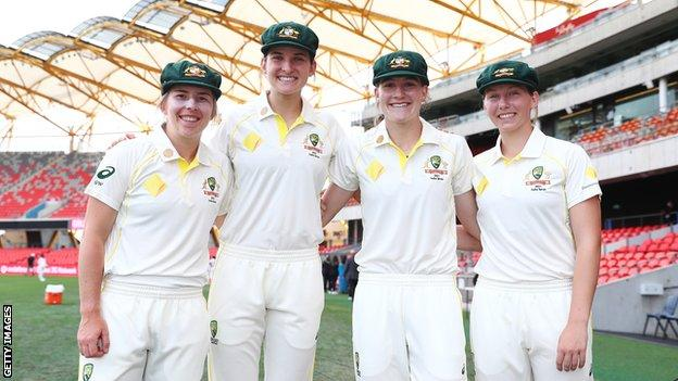 Australia's Georgia Wareham, Stella Campbell, Annabel Sutherland and Darcie Brown