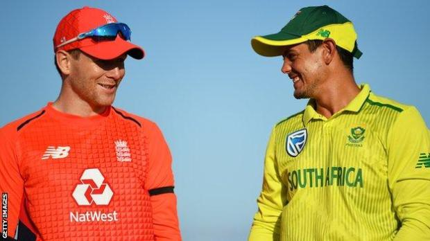England captain Eoin Morgan with South Africa captain Quinton de Kock