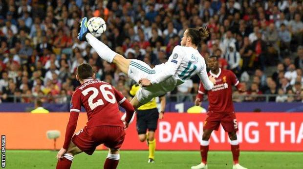 Gareth Bale scores against Liverpool in the 2018 Champions League final