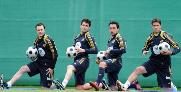Andres Iniesta, Xavi, Cesc Fabregas and Joan Capdevila
