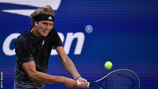 Alexander Zverev returns a ball at the US Open