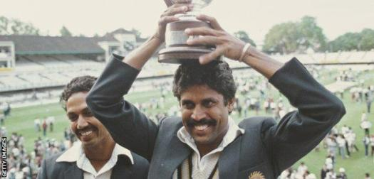 Kapil Dev with the World Cup trophy in 1983