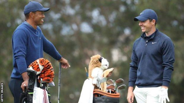 Tiger Woods and Rory McIlroy while playing at the 2020 US PGA Championship