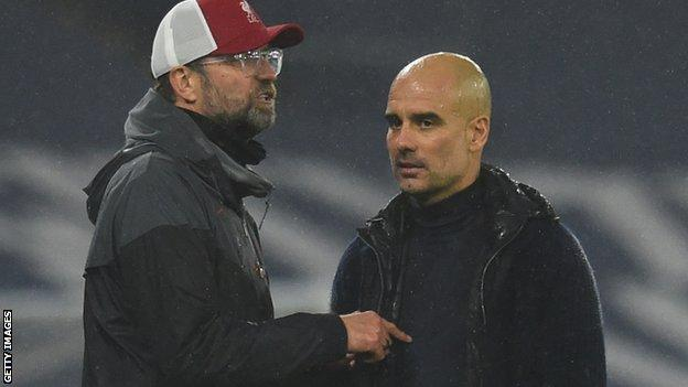 Liverpool manager Jurgen Klopp (left) and Manchester City counterpart Pep Guardiola