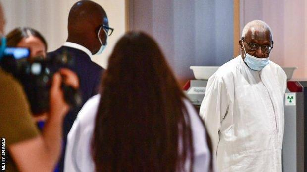Lamine Diack pictured in court