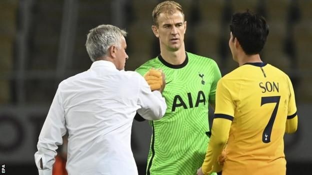 Joe Hart at the end of the match with Jose Mourinho and Son Heung-min