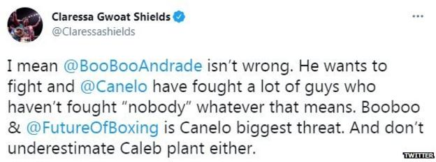 Claressa Shields on Twitter says Andrade is Canelo's biggest threat