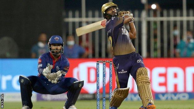 Kolkata Knight Riders' Rahul Tripathi hits a six against Delhi Capitals in the IPL Qualifier 2