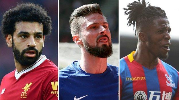 Mohamed Salah (Liverpool), Olivier Giroud (Chelsea), Wilfried Zaha (Crystal Palace)