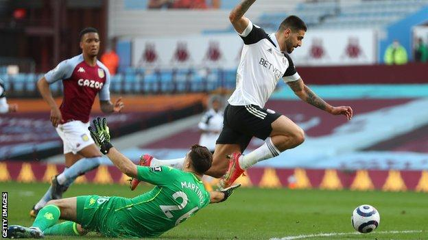 Aleksandar Mitrovic puts Fulham ahead against Aston Villa