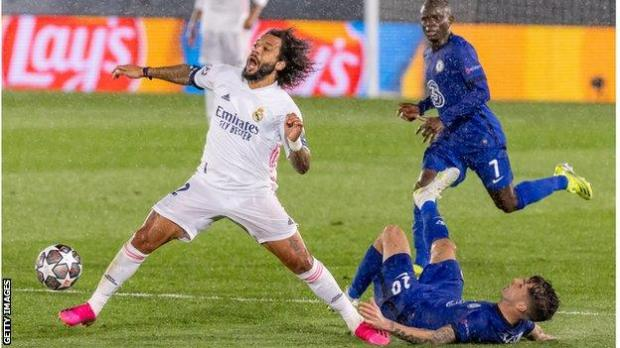 Real Madrid's Marcelo in action against Chelsea