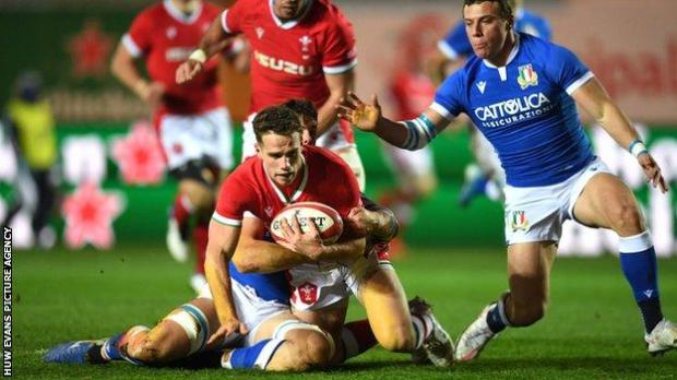 Kieran Hardy scores his first try for Wales