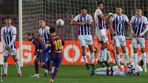 Lionel Messi takes a free kick against Real Valladolid