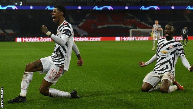 Marcus Rashford celebrates scoring Manchester United's late winner at Paris St-Germain