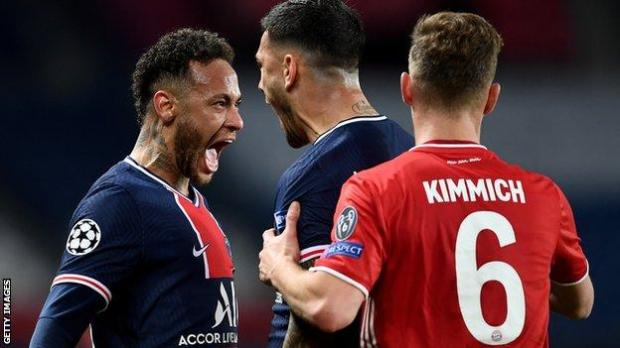 Neymar (left) celebrates PSG's victory over Bayern Munich in the Champions League quarter-finals