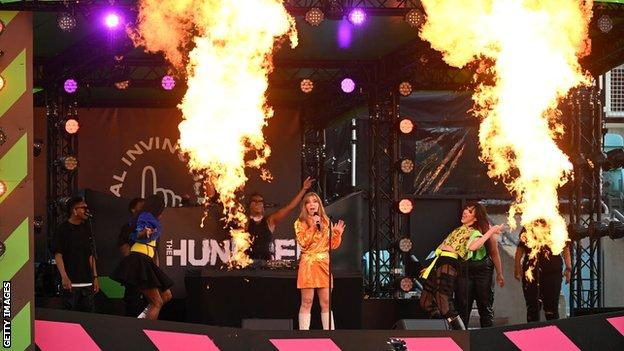 Becky Hill performs at half time during the The Hundred match between Oval Invincibles and Manchester Originals