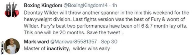 """Fans on Twitter discussing Fury-Wilder III. One fan says """"Wilder will throw another spanner in this mix"""" and cites Fury's inactivity, while another says """"Wilder wins easy""""."""