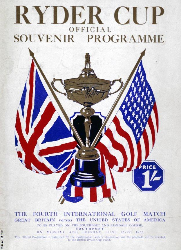 foot ball Ryder Cup programme in 1933