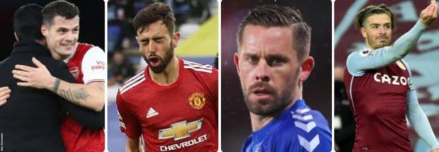Arsenal's Granit Xhaka, Bruno Fernandes of Manchester United, Gylfi Sigurdsson of Everton and Jack Grealish of Aston Villa