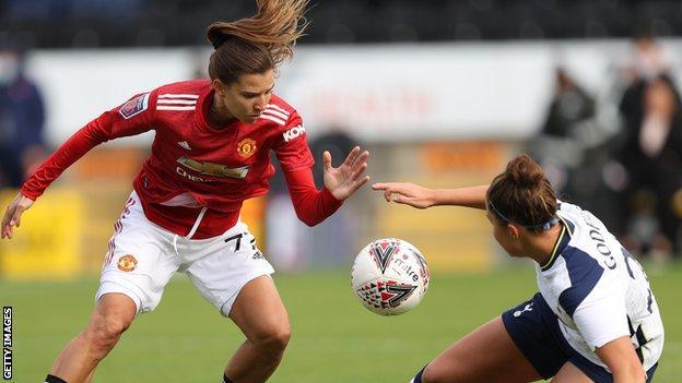 Manchester United's Tobin Heath in action against Tottenham