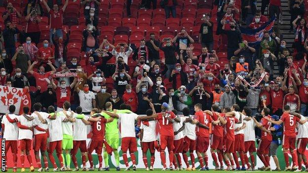 Bayern Munich celebrate winning the Uefa Super Cup