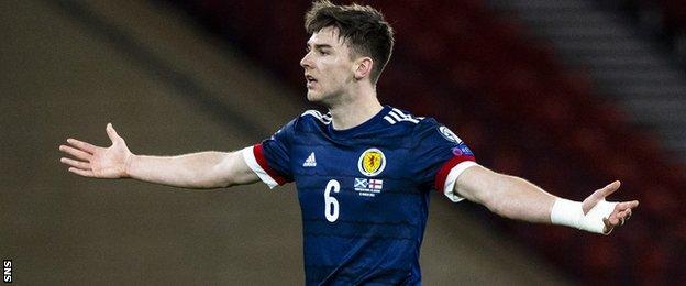 Kieran Tierney in action for Scotland