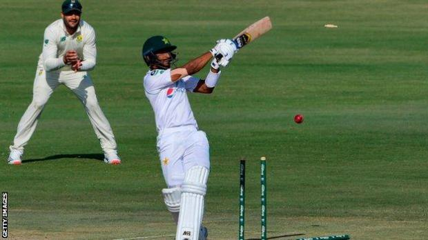 Pakistan's Hasan Ali being bowled by Kagiso Rabada in the first Test in Karachi