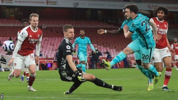 Diogo Jota scores his second goal against Arsenal