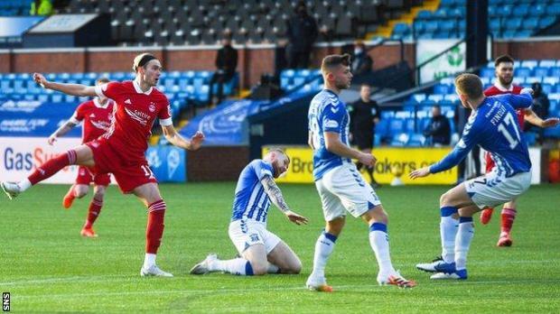 Ryan Hedges scores for Aberdeen against Kilmarnock