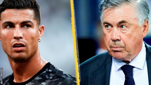 Cristiano Ronaldo and Carlo Ancelotti.