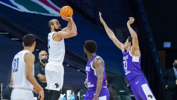 US Monastir's Makrem Ben Romdhane takes a shot in the BAL final against Zamalek