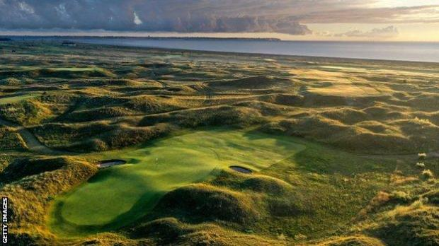 An aerial view of the eighth hole at Royal St George's