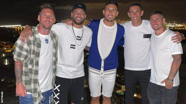Messi on holiday this month with PSG's Neymar, Paredes, Di Maria and Verrati