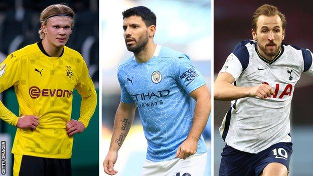 Erling Braut Haaland, Sergio Aguero and Harry Kane