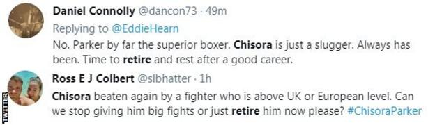 """Fans on Twitter call for Chisora to retire. One fan says he was """"again beaten a fighter who is above UK or European level"""""""
