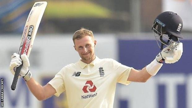 England captain Joe Root celebrates reaching 150 against Sri Lanka in the second Test in Galle