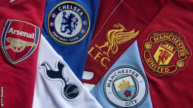 Arsenal, Chelsea, Liverpool, Manchester City, Manchester United and Tottenham club badges