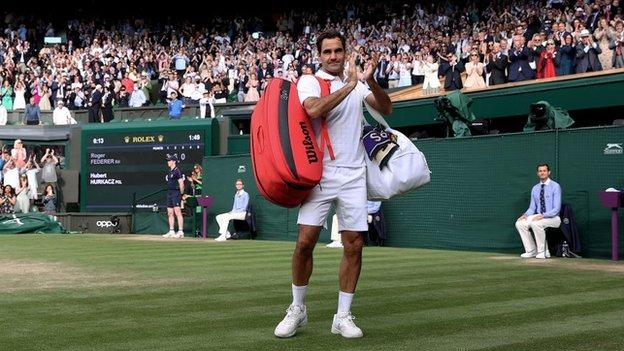 Roger Federer at Wimbledon in July 2021