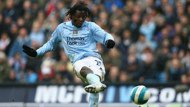 Benjani in action for Manchester City