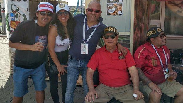 Peru fan Manuelito and friends