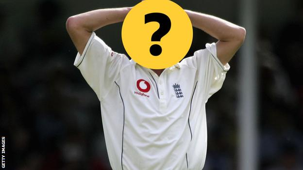 An England player with his face hidden by a question mark